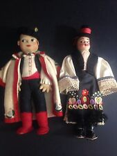 """Two Vintage 11"""" Cloth Hungarian Dolls Matyo Embroidery 50+ Years old."""