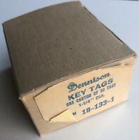 "Vintage DENNISON Key Tags Set Of 35 Original Box Metal Rings 1-1/4"" Diameter USA"