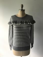 Le Lis Stitch Fix Gray White Striped Pull Over Knit Sweater Top Ruffle Size M