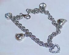 "Bracelet 18.3 Gram 7"" Puffy Heart Antique 5 Hearts Cz Sterling Silver Charm"