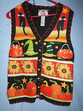 HALLOWEEN FALL TEACHER SWEATER VEST  PUMPKINS SMALL TIARA