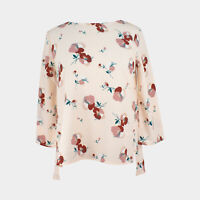 M&S Ladies Womens Pink Floral Print Smart Evening Work Blouse Size 6 - 16 18 20