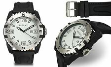 NEW Argenti 1298M Mens Paradigm Collection White Leather Sports Date Manly Watch