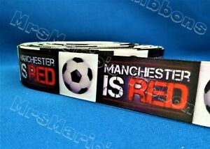 Manchester is red football style satin cake/hair/craft ribbon @ MrsMario's
