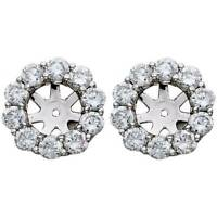 1 1/2ct Diamond Halo Earring Studs Jackets White Gold  (6-6.7mm)