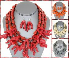 Sea Coral Layered Multi Layer Chunky Nautical Statement Necklace Earrings Set