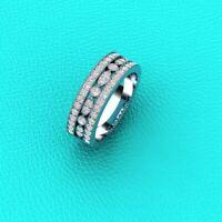 1.02Ct Round Cut Diamond 14k White Gold Over Art Deco Half Eternity Band Ring