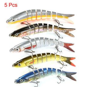 5 Pcs Lifelike Eyes 8 Segment Bionic Bait Treble Hooks Crucian Carp Fishing Lure