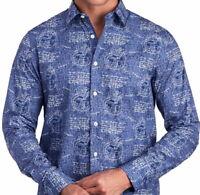 John Lennon by English Laundry Mens L/S Shirt Blue World & Script Size XL NWT