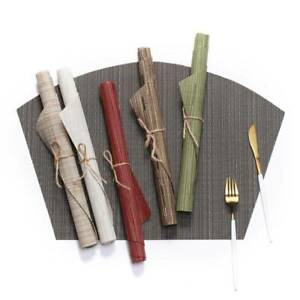 PVC Sector Imitation Bamboo Placemat Heat Insulation Kitchen Non-Slip Table Mat