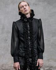 Devil Fashion Mens Gothic Vampire Shirt Top Black Steampunk VTG Victorian Rose