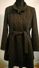 NEXT COAT SIZE 14 Petite Geometric pattern black & brown fitted belted button up