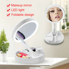 LED Illuminated Foldable Foldaway Double Sided 10X Magnification Makeup Mirror