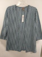 Easywear by Chico's sz 1 Sea Blue Chevron 3/4 Sleeve Open Front Jacket 570253903