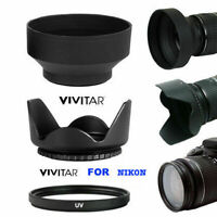 55MM HARD LENS HOOD+ RUBBER SOFT HOOD +HD 55MM UV FILTER FOR NIKON D5600 D3400