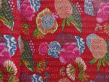 Red Tropical Kantha Quilt Twin Size Indian Handmade Reversible Kantha Throw