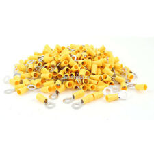 """H● 500 Pcs RV5.5-6 6.5mm 1/4"""" Yellow Sleeve Pre Insulated Ring Terminals."""