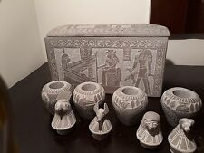 Rare Antique Ancient Egyptian 4 Canopic jar + Box. book of Dead 1388–1351 BC
