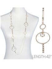 Long Disc Chain Necklace Stone Drop Gold Tone Women Fashion Jewelry
