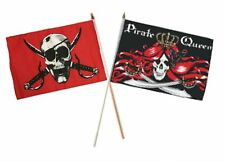 "12x18 12""x18"" Wholesale Combo Pirate Crimson & Queen Pirate Stick Flag"