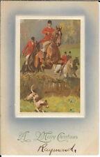 BA-136 - A Merry Christmas, Fox Hunting Scene Embossed 1907-1915 Postcard