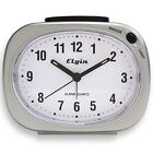 3640E Elgin Battery Powered Silver Tone Analog Quartz Alarm Clock