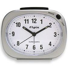 3640E Elgin Battery Powered Silver Tone Analog Quartz Alarm Clock