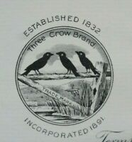 Three Crow Brand John Bird Co Atlantic Spice Rockland ME 3 Crow 1907 Letterhead