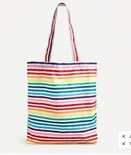 J Crew Recycled Reusable Colorful Rainbow Tote Bag NWT