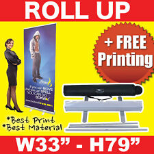 "Retractable 33""x 79"" Roll Up Banner Stand + FREE Printing + FREE Shipping"