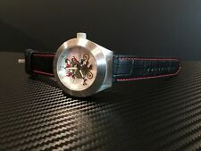ANDROID AUTOMATIC DRAGON SILVER AD651, 21 JEWEL BLACK LEATHER WATCH