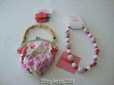 Gymboree TEA GARDEN Floral Purse Bag, Beaded Necklace & Flower Hair Ponys Girl