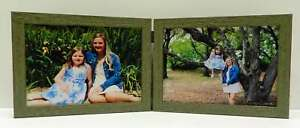 3.5x5 4x5 4x6 5x7  Green Teal Rustic Double Hinged Horizontal Wood Picture Frame
