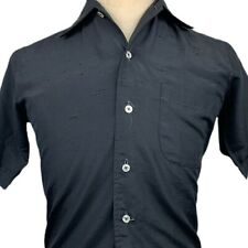 New listing Vintage 60s 70s Mens Small Polyester Black Shirt Napoli Italy Mod Rockabilly