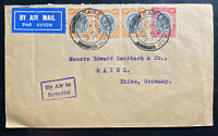 1935 Dar Es Salam Tanganyika British KUT Airmail Cover To Rhine Germany