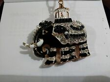 Betsey johnson Blk n Pearl Crystal Elephant necklace