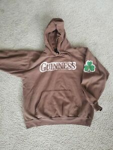 Guinness Stout Vintage Licensed Hoodie Rare Brown Clover Nice Condition Mens XL