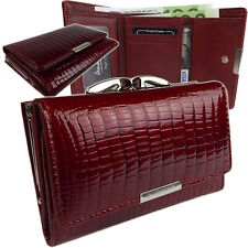 Portemonnaie  Damen Geldbörse  Geldbeutel Portmonee Leder Neu Lack  5282  Rot