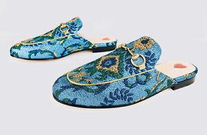 Gucci Princetown Horsebit Iridescent Brocade Brazil Loafer Slippers Size EU 35