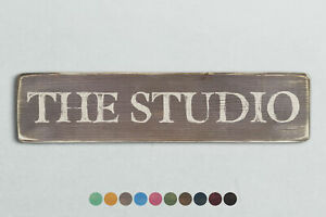 THE STUDIO Vintage Style Wooden Sign. Shabby Chic Retro Home Gift