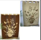 """Vtg Tapestry Wall Hanging Wall Art Valance Floral Reversible Beige Brown 40""""x26"""""""