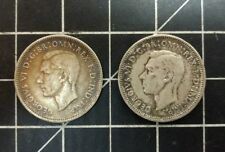 Lot of 2 1942 Australia - 1 Shilling - 0.9250 Silver  FREE SHIP