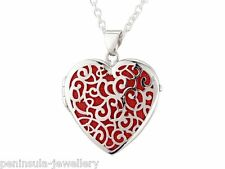 Sterling Silver Red Filigree Heart Locket Pendant and Chain Gift Boxed
