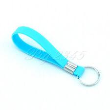 Silicone Keychain Key Chain Wristband Keytag Keyring Light Blue Unique