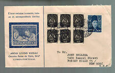 1952 Lisbon Portugal  Airmail Stamp Day Cachet cover to USA