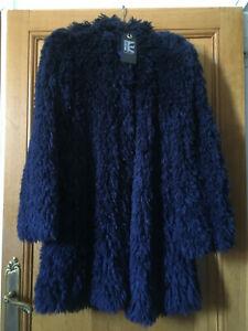 Manteau femme marque Tricot Chic bleu marine soie 100% neuf T 38 grand