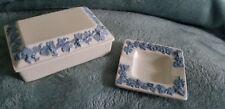 Wedgwood of Etruria & Barlaston Blue Queensware Cigarette Box & Ashtray