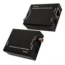 Digital Audio Extender Over CAT5e CAT6 Cable SPDIF RCA Coax + Optical Toslink