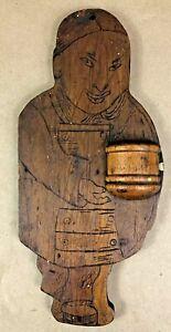 1907 ANTIQUE FOLK ART / TRAMP ART WOOD ASIAN FIGURAL MATCHSTICK MATCH HOLDER