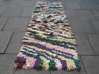 Old Hand Made Moroccan Boucherouite Cotton Fabric Colourful Rug 250x112cm